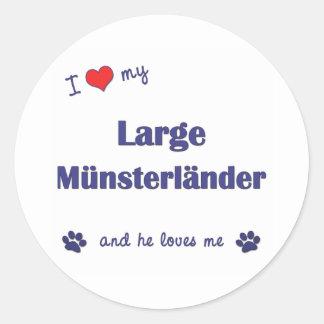 Amo mi Munsterlander grande (el perro masculino) Pegatina Redonda