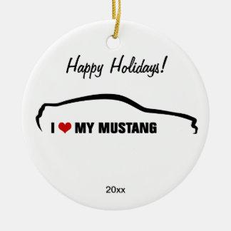 Amo mi mustango adorno navideño redondo de cerámica
