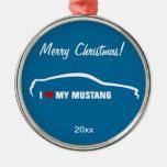 Amo mi mustango - azul adornos de navidad