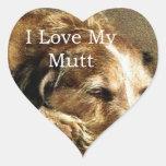 Amo mi Mutt Calcomanía Corazón Personalizadas