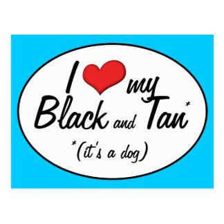 Amo mi negro y bronceo (es un perro) tarjeta postal