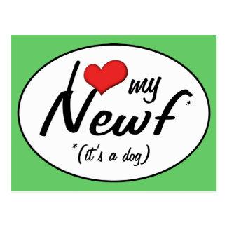 Amo mi Newf (es un perro) Tarjetas Postales