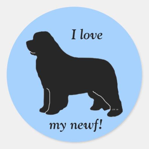 ¡Amo mi newf! Etiqueta Redonda