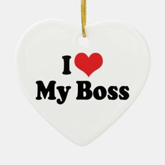 Amo mi ornamento de Boss Adorno Navideño De Cerámica En Forma De Corazón