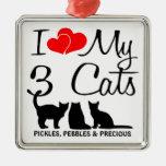 Amo mi ornamento de tres gatos ornamento para reyes magos