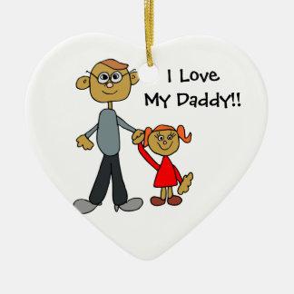 Amo mi ornamento del corazón del navidad del papá ornatos