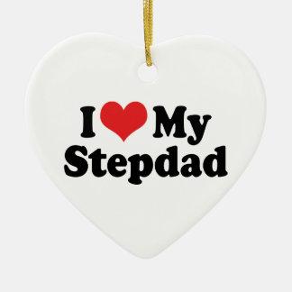 Amo mi ornamento del Stepdad Adorno Navideño De Cerámica En Forma De Corazón