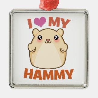 Amo mi ornamento Hammy del día de fiesta del Adorno Cuadrado Plateado