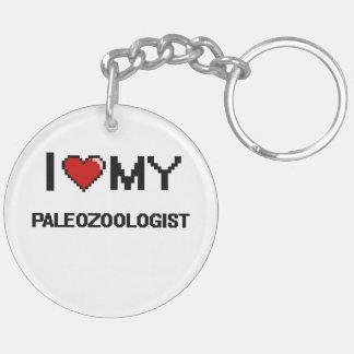 Amo mi Paleozoologist Llavero Redondo Acrílico A Doble Cara