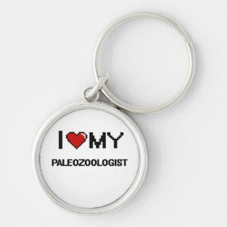 Amo mi Paleozoologist Llavero Redondo Plateado