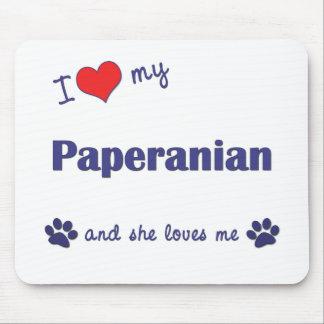 Amo mi Paperanian (el perro femenino) Alfombrillas De Ratón
