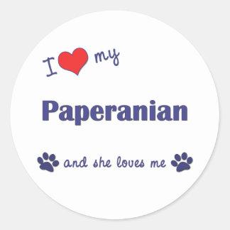 Amo mi Paperanian (el perro femenino) Pegatina Redonda