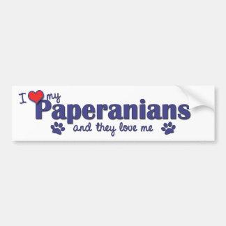 Amo mi Paperanians (los perros múltiples) Pegatina Para Auto