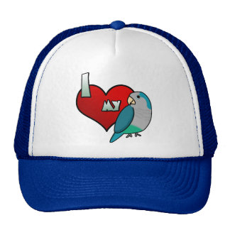 Amo mi Parakeet azul del Quaker Gorro