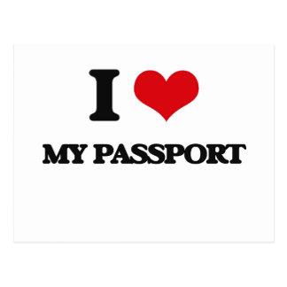 Amo mi pasaporte tarjeta postal