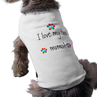 Amo mi pata del arco iris de dos mamáes camisa de perrito