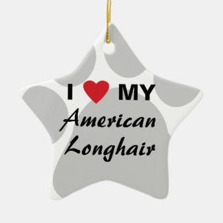 Amo mi Pawprint de pelo largo americano Adorno Navideño De Cerámica En Forma De Estrella