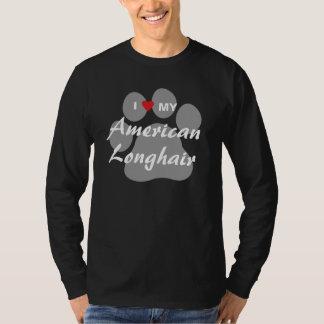 Amo mi Pawprint de pelo largo americano Camisas