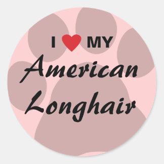 Amo mi Pawprint de pelo largo americano Pegatina Redonda