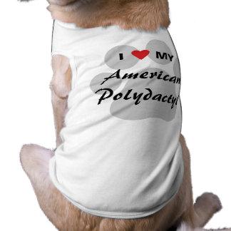 Amo mi Pawprint polidáctilo americano Playera Sin Mangas Para Perro
