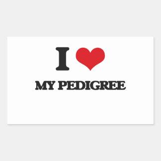Amo mi pedigrí rectangular pegatinas