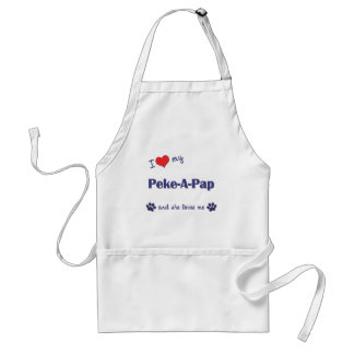 Amo mi Peke-UNO-Pap (el perro femenino) Delantal