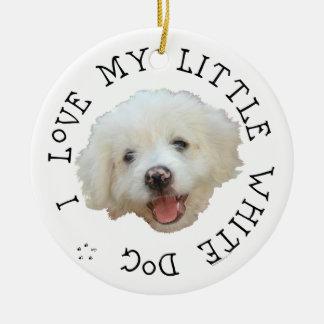 Amo mi pequeño perro blanco del rescate ornamento para reyes magos