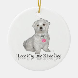 ¡Amo mi pequeño perro blanco - maltés! Ornamentos Para Reyes Magos