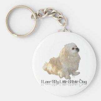 ¡Amo mi pequeño perro blanco - Pekingese! Llavero Redondo Tipo Pin