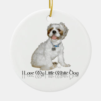 Amo mi pequeño perro blanco - Shih Tzu Adorno Navideño Redondo De Cerámica