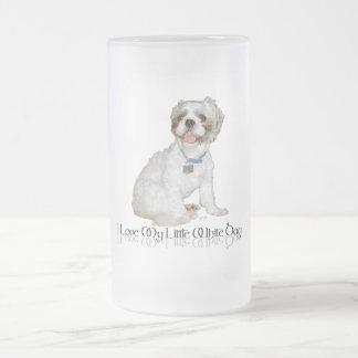 Amo mi pequeño perro blanco - Shih Tzu Jarra De Cerveza Esmerilada