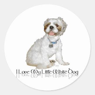 Amo mi pequeño perro blanco - Shih Tzu Pegatina Redonda