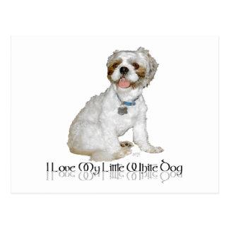 Amo mi pequeño perro blanco - Shih Tzu Postales