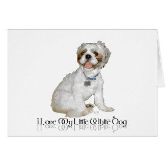 Amo mi pequeño perro blanco - Shih Tzu Tarjeta De Felicitación