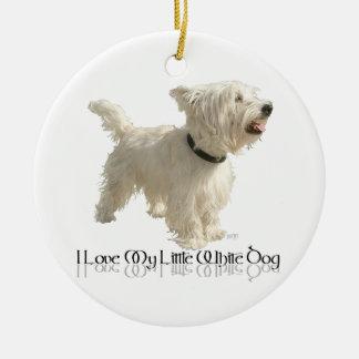Amo mi pequeño perro blanco - Westie Ornamento De Navidad