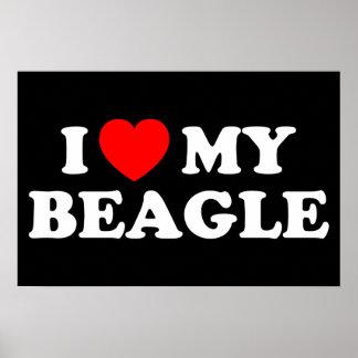 Amo mi pequeño poster del beagle póster