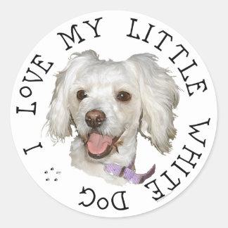 Amo mi pequeños caniche del perro/mezcla blancos pegatina redonda