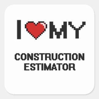 Amo mi perito de la construcción pegatina cuadrada