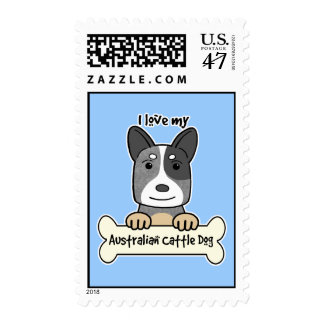 Amo mi perro australiano del ganado estampilla