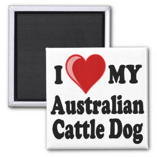 Amo mi perro australiano del ganado imán cuadrado