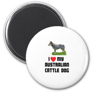 Amo mi perro australiano del ganado imán redondo 5 cm