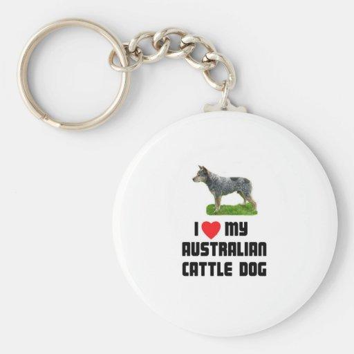 Amo mi perro australiano del ganado llaveros personalizados