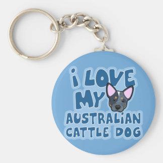Amo mi perro australiano del ganado llavero redondo tipo pin
