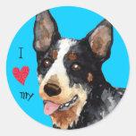 Amo mi perro australiano del ganado pegatinas redondas