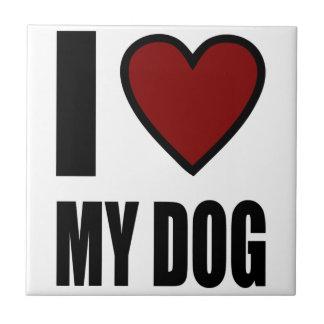 Amo mi perro azulejo cuadrado pequeño