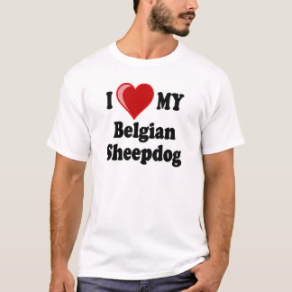 Amo mi perro belga del perro pastor playera