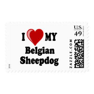 Amo mi perro belga del perro pastor sellos