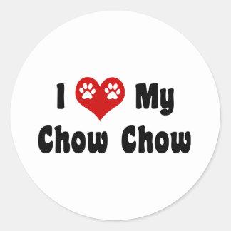 Amo mi perro chino de perro chino pegatina redonda