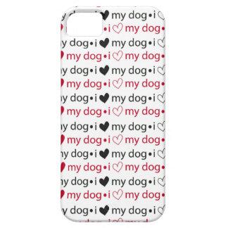 Amo mi perro con los corazones iPhone 5 carcasa