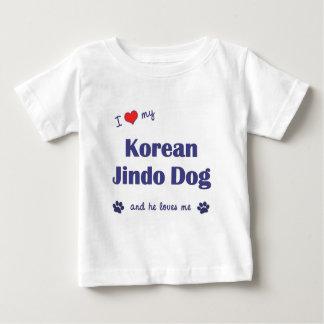 Amo mi perro coreano de Jindo (el perro masculino) Playera De Bebé